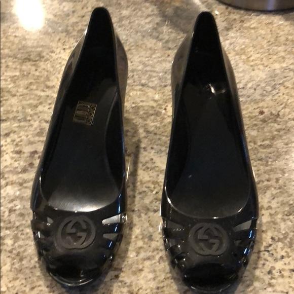 5d75e60b9c7f9 ... Gucci Guccimarola Jelly Wedges get cheap 9e15c b2783  Gucci Shoes - Gucci  Marola Jelly Logo Sandals ...